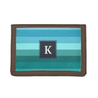 Blue and cyan stripes monogram trifold wallet