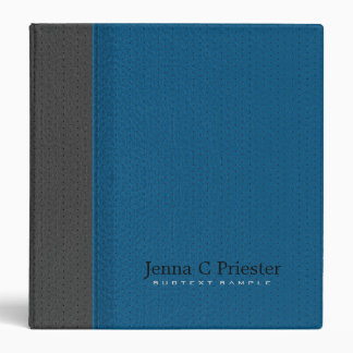 Blue And Dark Gray Stitched Leather Look 3 Ring Binders