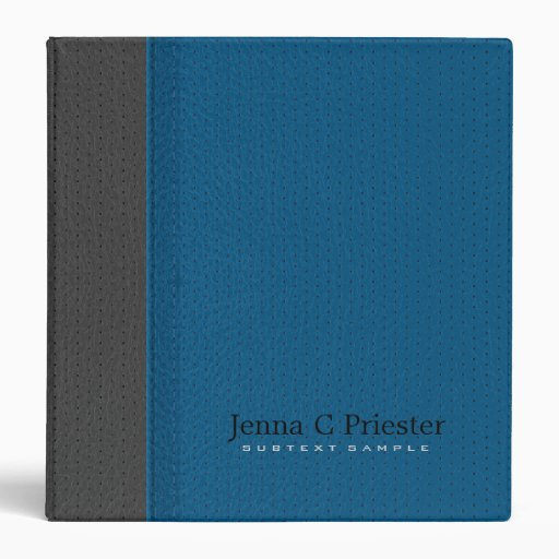 Blue And Dark Gray Stitched Leather Look Binders