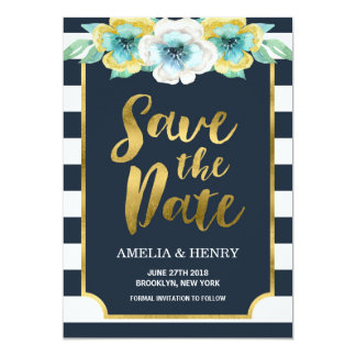 Blue and Faux Gold Floral Save the Date Invitation