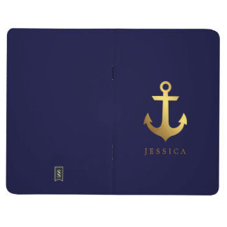 Blue and Faux Gold Foil Anchor and Polka Dots Journal
