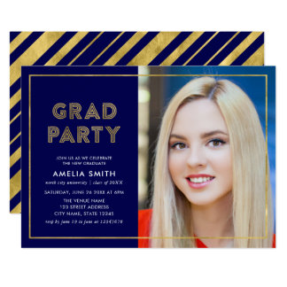Blue and Faux Gold Geometric Photo Grad Party Card