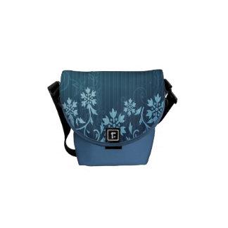 Blue and Floral Rickshaw Mini Zero Messenger Bag