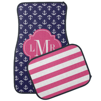 Blue and Fuchsia Anchors Pattern and Monogram Car Mat