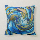 Blue And gold Abstract Dolphin Throw Pillow