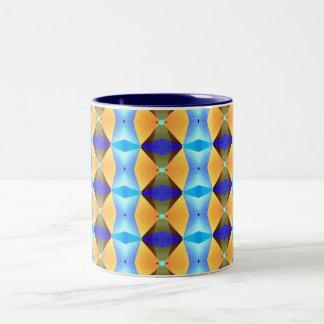 Blue And Gold Abstract Pattern Mugs