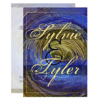 Blue and Gold Abstract Rose Mosaic Card