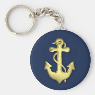 Blue and Gold Anchor Keychain