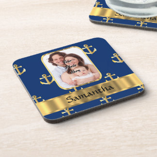 Blue and gold anchor patterned coaster