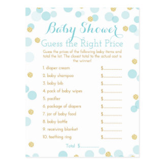 Blue and Gold Baby Shower Right Price Game Postcard