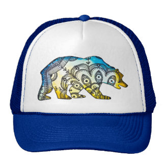 Blue and Gold Bear Snapback By Megaflora Trucker Hat