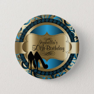 Blue and Gold Birthday with Black High Heels 2 Inch Round Button