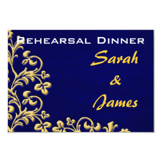Blue and gold brocade rehearsal dinner invite