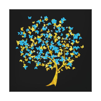 Blue and Gold Butterfly Tree Stretched Canvas Print