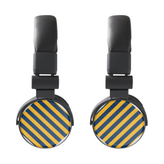 Blue and Gold Cali Striped Headphones
