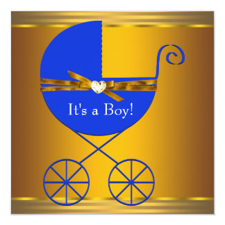 "Blue and Gold Carriage Boys Baby Shower 5.25"" Square Invitation Card"