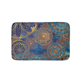 Blue and Gold Celestial Bath Mat Custom Colors