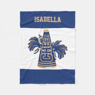 Blue and Gold Cheerleader Fleece Blanket