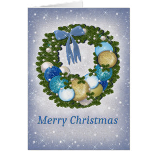 Blue and Gold Christmas Wreath, Merry Christmas Card