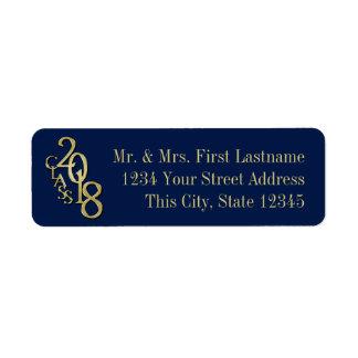 Blue and Gold Class of 2018 Graduation Return Address Label