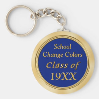 Blue and Gold Class Reunion Favors Your TEXT COLOR Basic Round Button Keychain