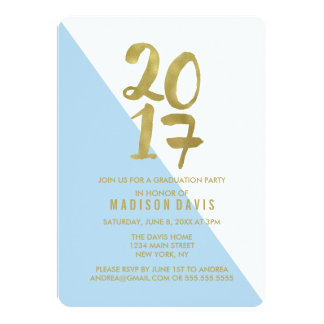 Blue and Gold Color Block | Graduation Party Card