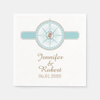 Blue and Gold Compass Rose Beach Wedding Napkin Paper Napkin