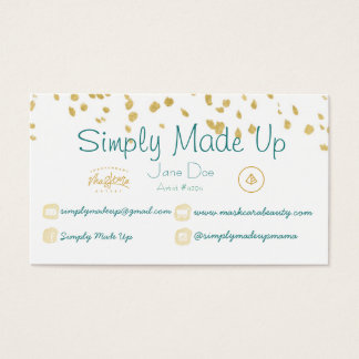 Blue and gold confetti business card