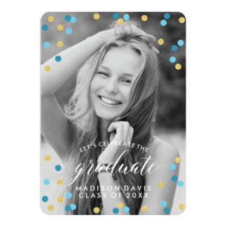 Blue and Gold Confetti Chalkboard Photo Graduation Card
