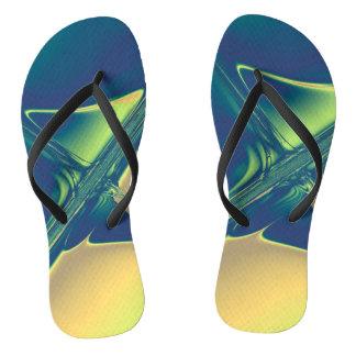Blue and Gold Crossings Flip Flops