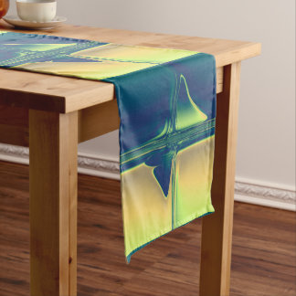 Blue and Gold Crossings Short Table Runner