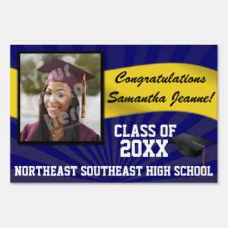 Blue and Gold Custom Photo Graduation Yard Sign