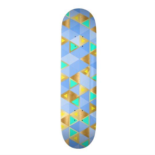 Blue and Gold Diamond Geometric Skateboard