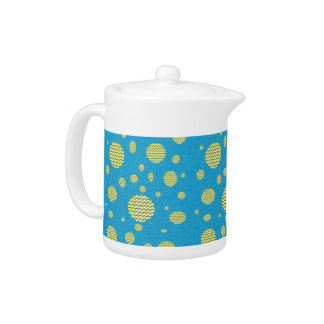 Blue and gold dots teapot