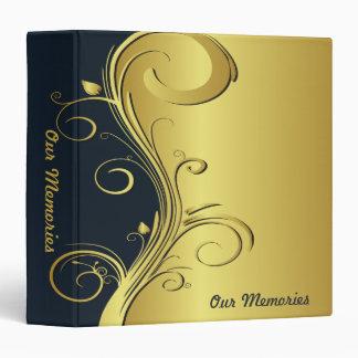 Blue and Gold Elegant Memories 3 Ring Binder