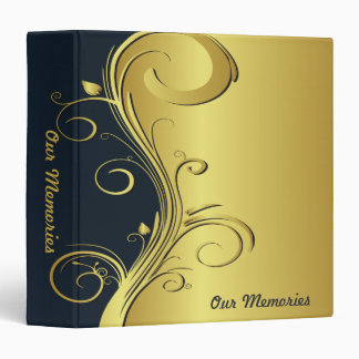 Blue and Gold Elegant Memories Vinyl Binder