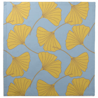 Blue and Gold Fall Ginkgo Ginko Biloba Leaves Napkin