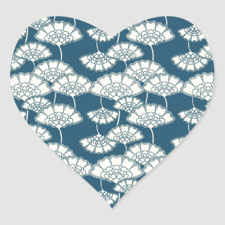 Blue and gold foil Japanese pattern Heart Sticker