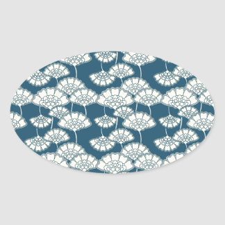Blue and gold foil Japanese pattern Oval Sticker