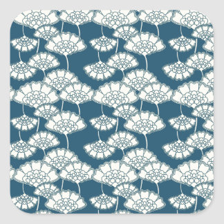 Blue and gold foil Japanese pattern Square Sticker