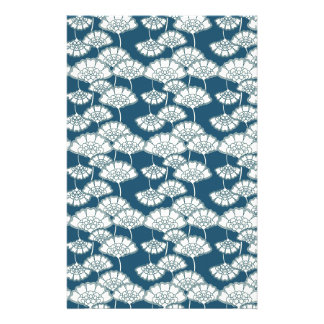 Blue and gold foil Japanese pattern Stationery