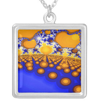 Blue and Gold Fractal Art Pendant Necklace