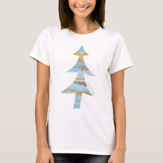 Blue and Gold Glam Christmas Tree T-Shirt