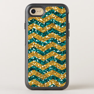 Blue and Gold Glitter, Chevron Pattern Mobile OtterBox Symmetry iPhone 7 Case