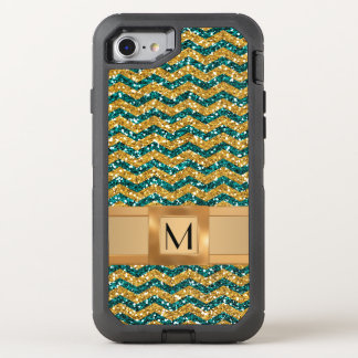 Blue and Gold Glitter, Personalized with Monogram OtterBox Defender iPhone 7 Case