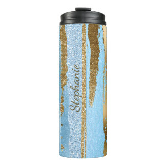 Blue and Gold Glitter Stripes Thermal Tumbler