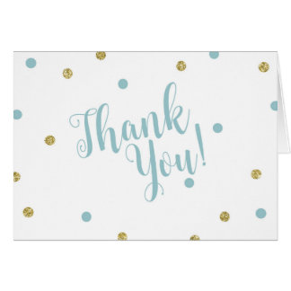 Blue and Gold Glitter Thank You Cards
