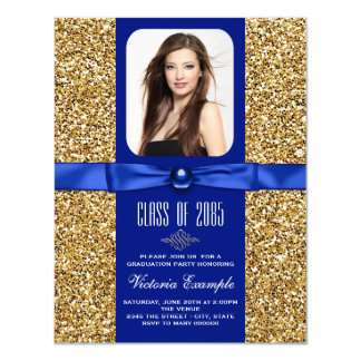 """Blue and Gold Graduation Announcements 4.25"""" X 5.5"""" Invitation Card"""