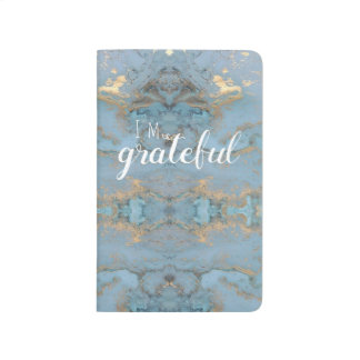 blue and gold gratitude journal