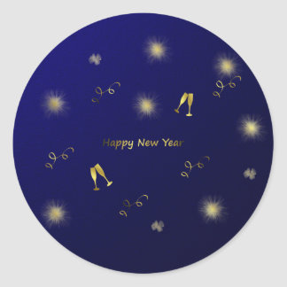 blue and gold happy new year sticker
